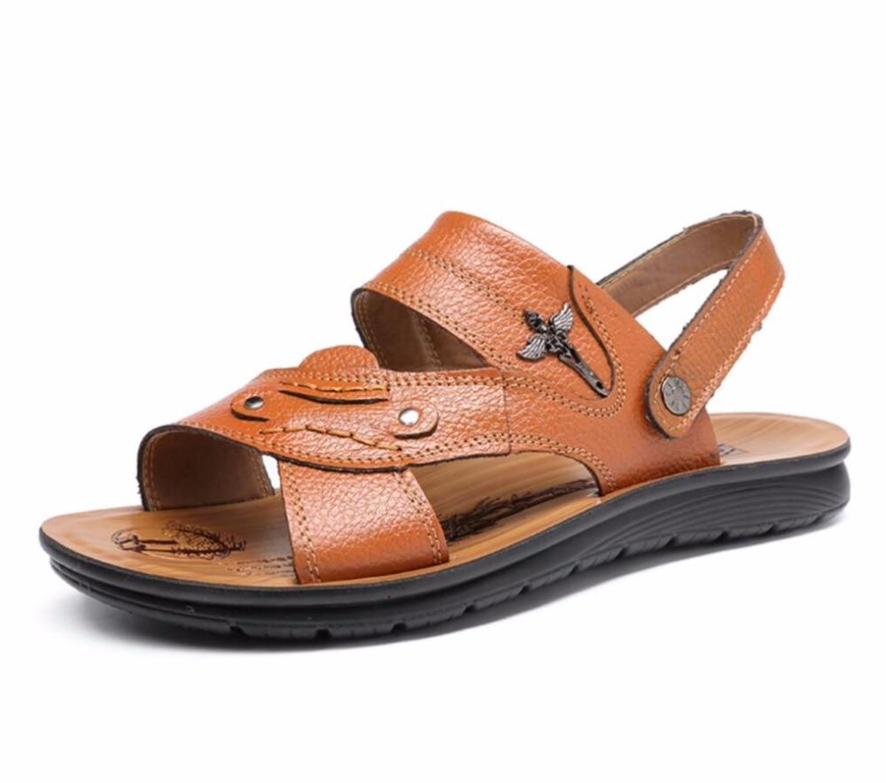 Men Summer sandals Genuine Leather Men Beach Sandals Brand Men Casual Shoes Flip Flops Men gladiator Slippers Sandalias Hombre