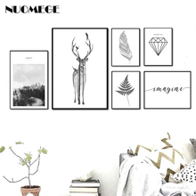 Nordic Style Landscape Poster Print Minimalist Wall Art Canvas Painting Deer Feather Picture for Living Room Home Decor posters