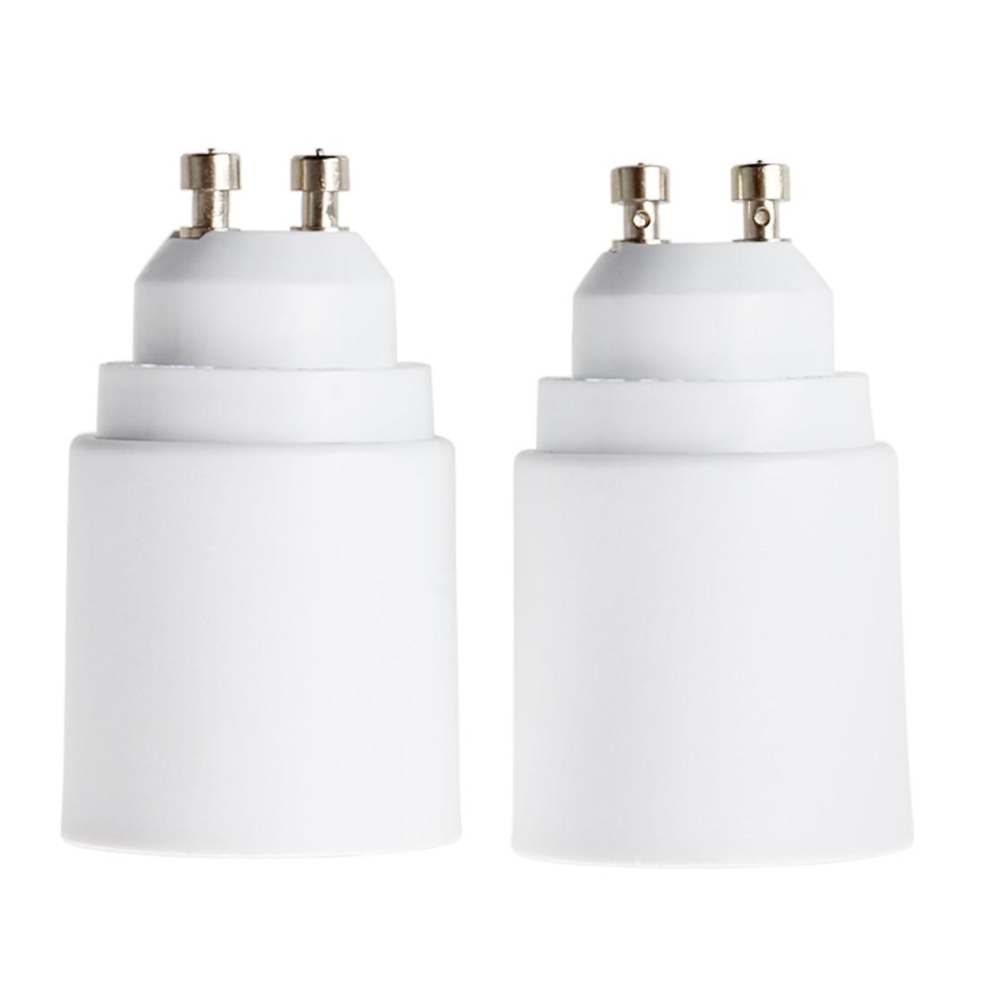 2 Packs White LED Light GU10 to E27 Plug Adapter