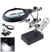 12.5X Desk-top Multifunctional Magnifier Rechargeable Welding Magnifying Glass Optical Tool with 2 Lens and 5 LED,Auxiliary Clip 10x desk top multifunctional adjustable rotatable welding magnifier with 5 led lights and electric soldering iron bracket
