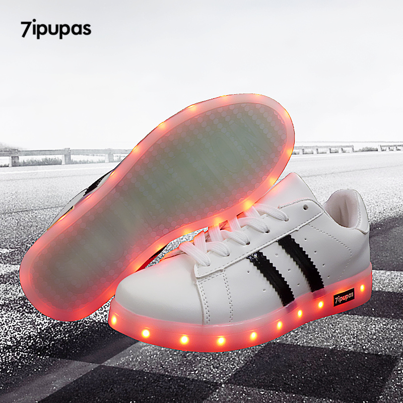b94c2d26 7 ipupas niños niñas niños moda LED luminoso zapatillas buena calidad LED  Light up zapatos USB amantes coloridos brillo resplandeciente zapatillas