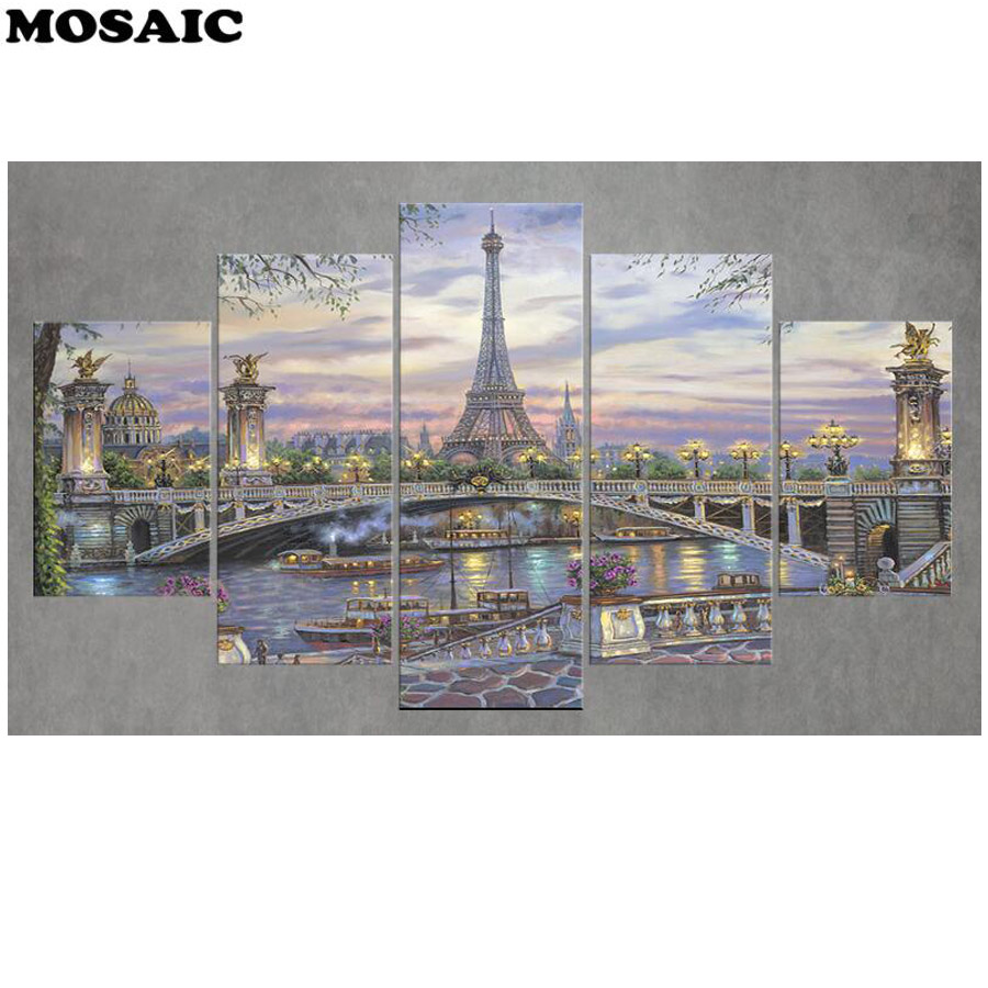 Full Square/Round Drill 5D DIY diamond painting 5pcsParis Towerdiamond Pictures mosaic Diamond Embroidery sale Wall decor