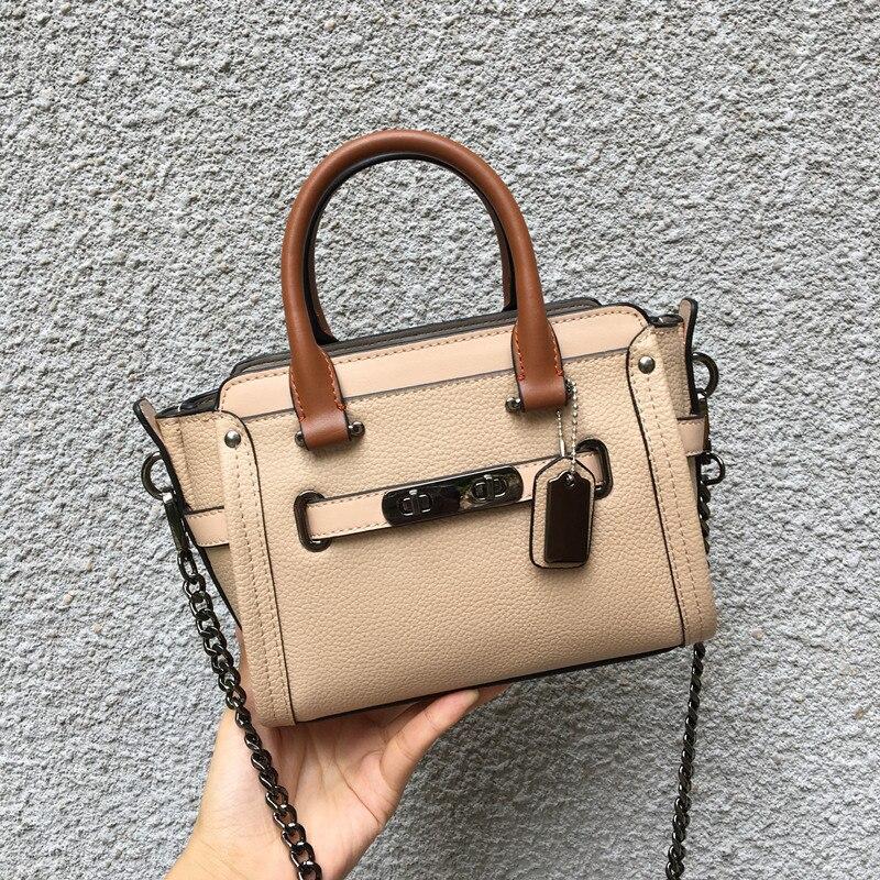 free shipping genuine leather motorcycle bag mini chain bag cowhide women's handbag small for mini handbag fashion