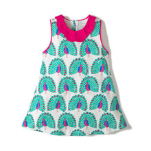 Little Bitty 2018 New Baby girl Jersey dresses sleeveless for 3-8T children clothes with printed peacocks summer kids dress