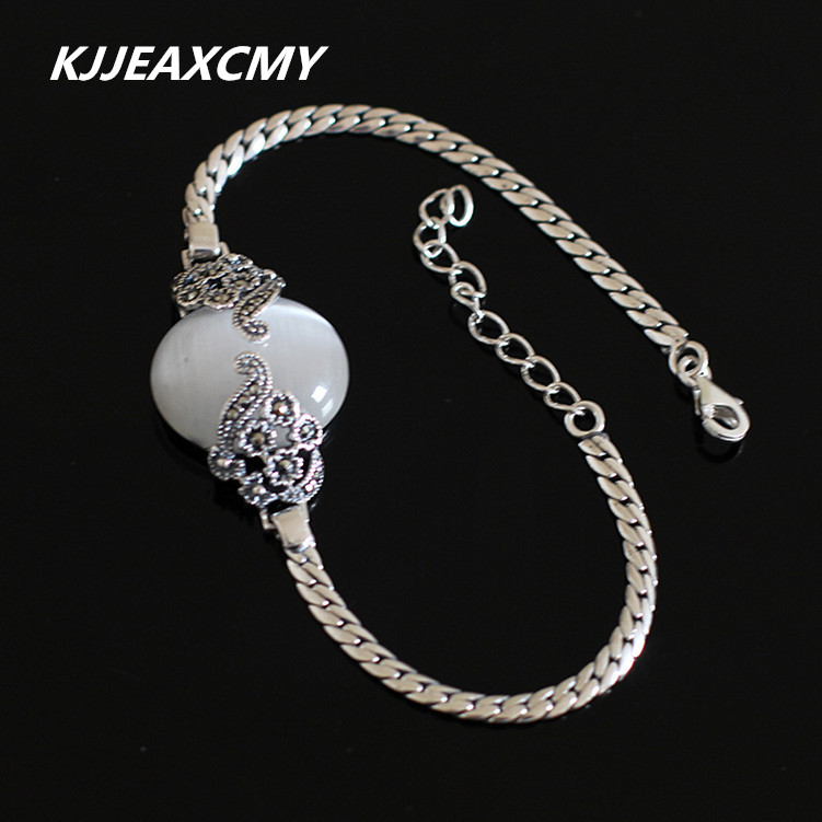 KJJEAXCMY S925 pure silver jewelry wholesale exquisite retro female cat eye Bracelet s925 pure silver personality female models new beeswax