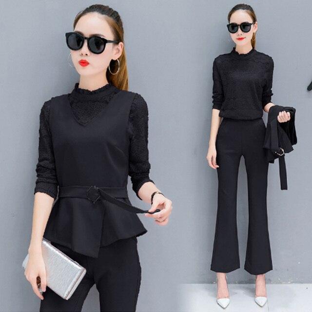 De moda de otoño 2019 elegante pantalones de traje para damas de manga  larga de encaje f6dfa38b3d7c