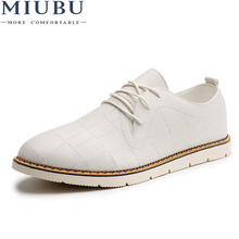 MIUBU Fashion Men Leather Shoes England Vintage Formal Office Male Brogue Casual Mixed Colors Wedge Heels Wedding