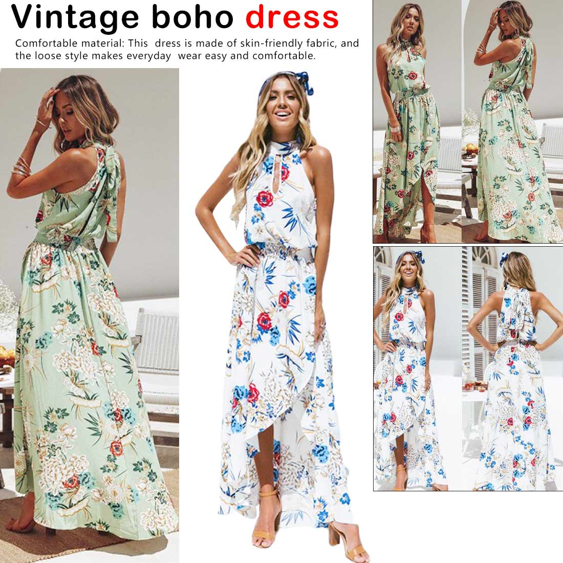 Halter Style Women Casual Loose Dress Floral Printing Sleevelss Ladies BOHO Beach Sundress Lady Maxi Dress