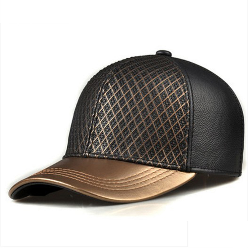 RY988 Exclusive 2019 Unisex Hip Hop Genuine Leather Baseball Hats For Man Woman Golden Caps Grid