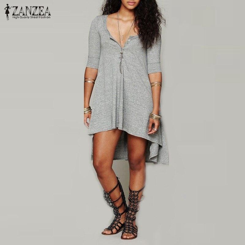 Vestidos 2018 Frühling ZANZEA Frauen Beiläufige Lose Baumwolle - Damenbekleidung - Foto 6