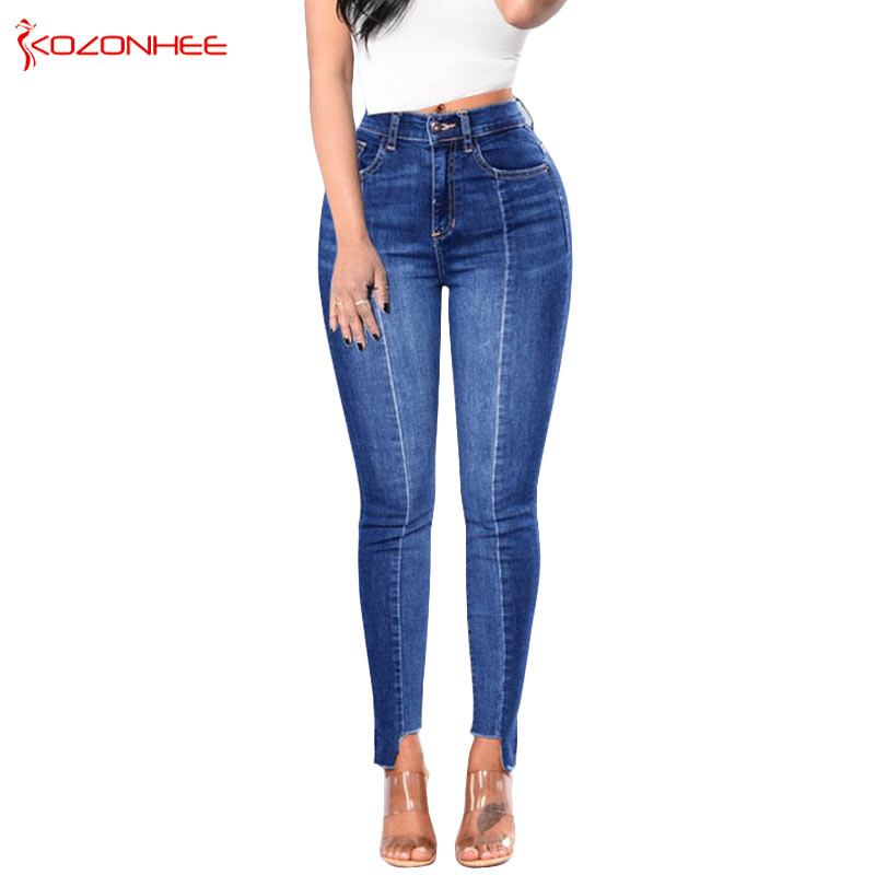 Holes Stretch Side Stripe   Jeans   For Women With High Waist skinny   Jeans   Trousers For Women's Torn   Jeans   Large Size