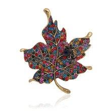 Colores Multi Crystal Rhinestone Hojas de Arce Broche Mujeres Accesorios de Joyería de Moda de Regalo de Prendas de vestir