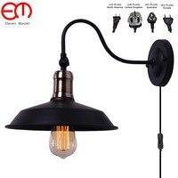 Ángulo ajustable Retro vintage antiguo Vintage led lámparas de pared personalizado paraguas negro sombra antigua luz de pared ZXX0002