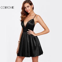 COLROVIE Black Bustier Satin Cami Dress Sexy Party Women Backless Empire A Line Dresses Deep V Neck Zip Back Skater Dress