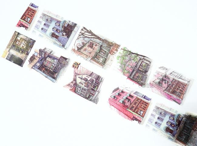 1Roll=35mmx7m High Quality Coffee Shop Buildingr Pattern Japanese Washi Decorative Adhesive Tape DIY Masking Paper Tape Sticker 1roll 35mmx7m high quality rabbit home pattern japanese washi decorative adhesive tape diy masking paper tape label sticker gift page 9