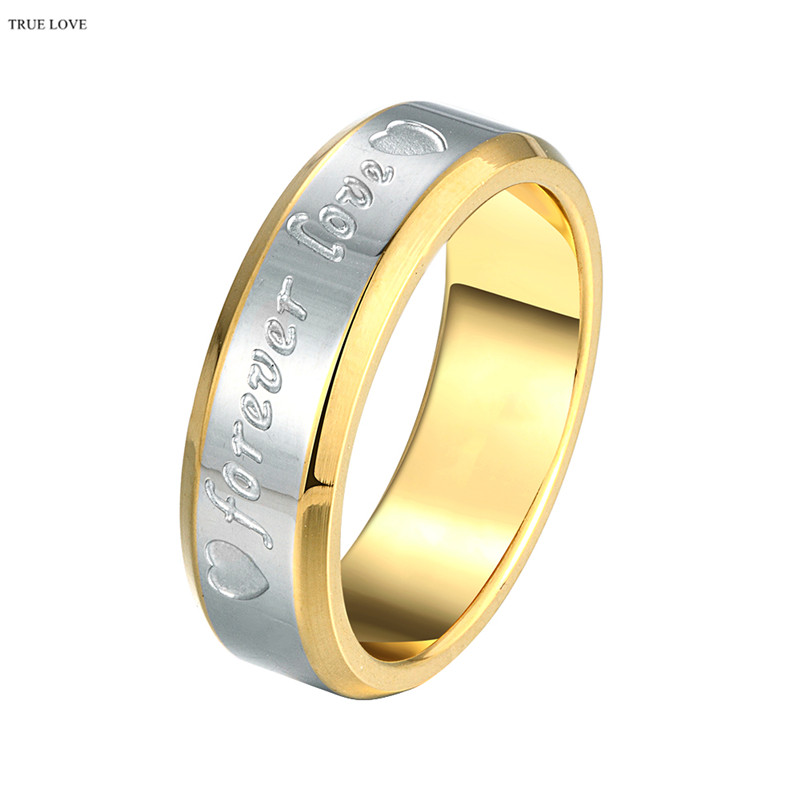 Hot Sale Stainless Steel Golden Finger Ring Size 6-10 # stamped forever Lover For Men Wedding Gifts anel masculino ANGELTEARS