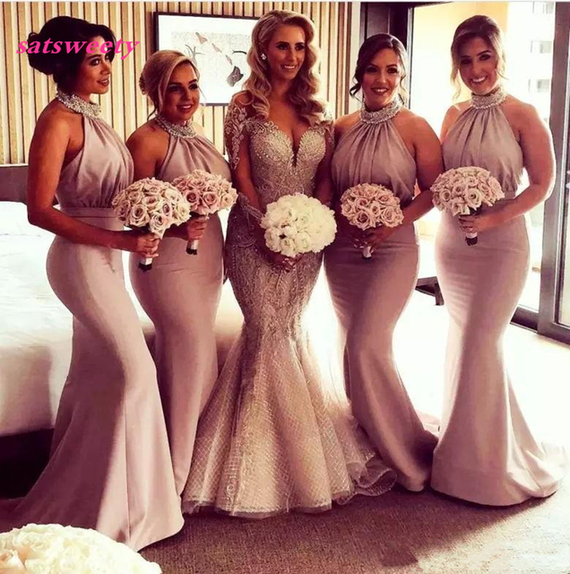 4f5eee244706 2019 Halter Maid Of Honor Dresses Beads Sequins Satin Country Mermaid Bridesmaid  Dress Long Pleas Low Back Sexy Party Prom Gowns