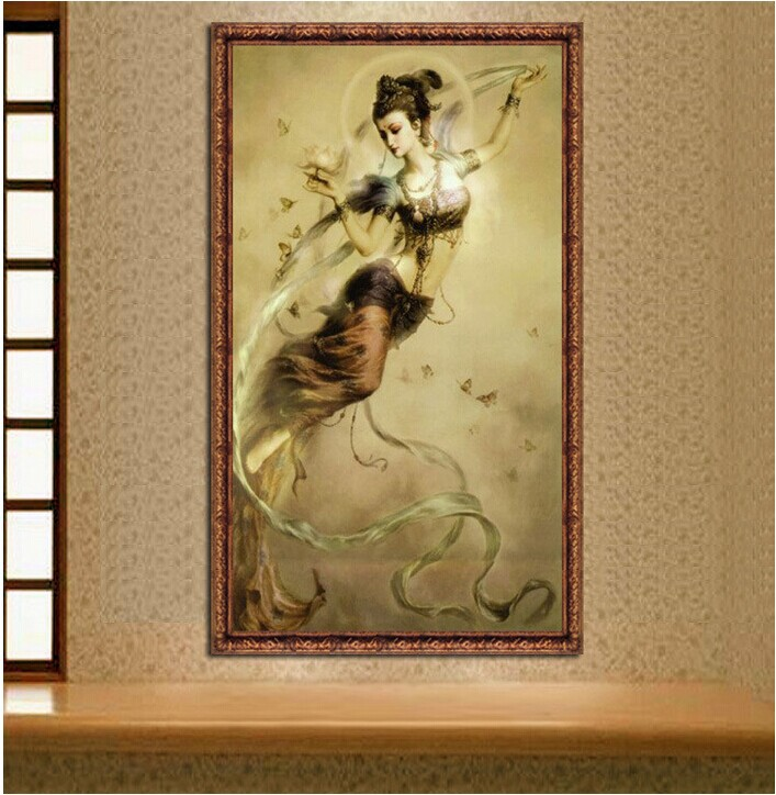 124*78cm Needlework,DIY Cross Stitch, Embroidery Kit,Fairy Flying Girl Godness Print Pattern Counted Chinese Cross-Stitch Kits