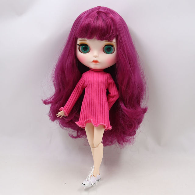 Blyth doll 1/6 bjd white skin joint body Cute deep pink curly hair new matte face with eyebrows Lip gloss ICY sd toy