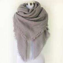 Зимний брендовый дизайнерский однотонный кашемировый женский шарф большого размера, женские шерстяные шарфы, квадратная шаль, дешевая