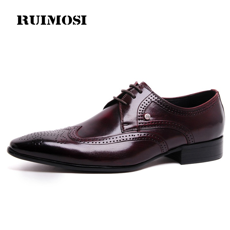RUIMOSI Vintage Man Formal Brogue Shoes Genuine Leather Male Dress Oxfords Luxury Pointed Toe Men's Wing Tip Bridal Flats WD37