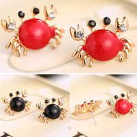 Bluelans kobiety Sea Life kraba cyrkonie kolczyki do uszu złoty stop mody kolczyki biżuteria