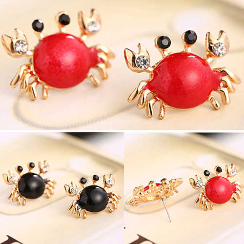 Bluelans Women Sea Life Crab Rhinestones Ear Studs Golden Alloy Fashion Earrings Jewelry