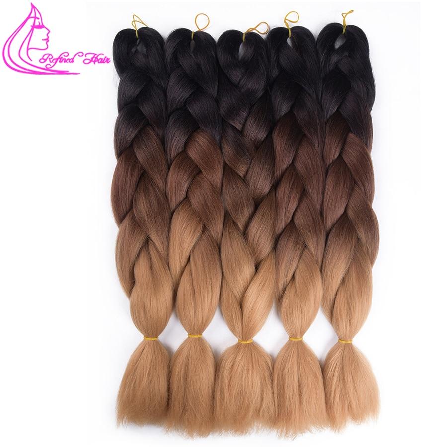 Изысканный волос Jumpo плетение Ombre Kanekalon плетения волос 24 дюймов 100 г Jumpo вязанная косами выражение переплетения