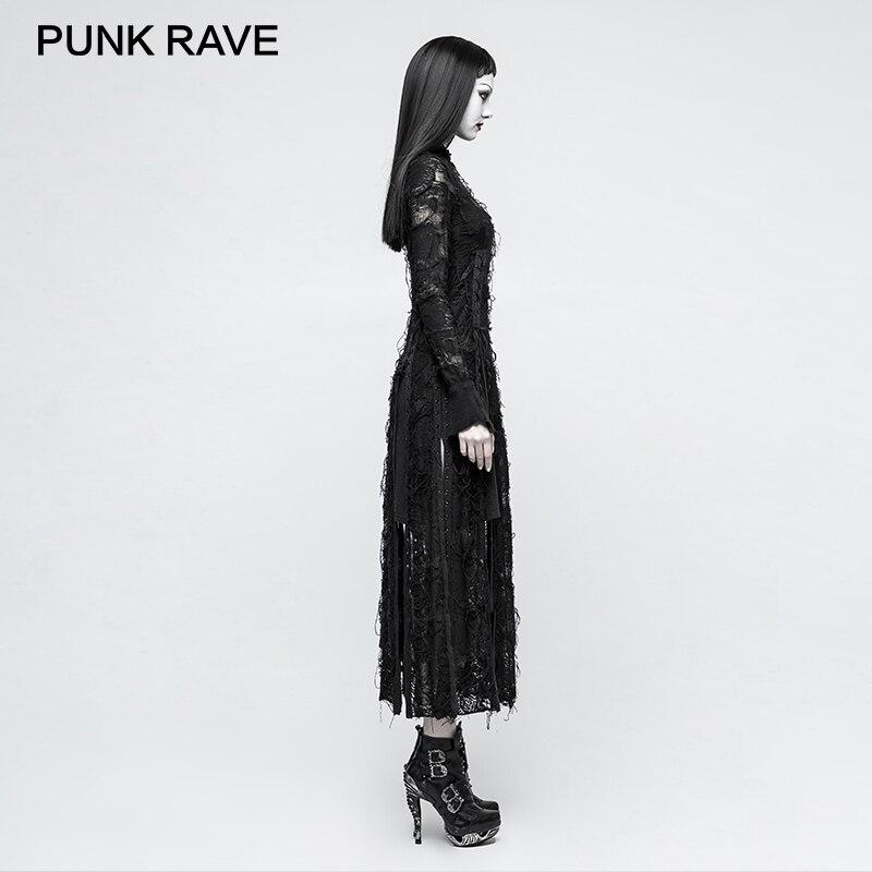 Longues Rock Gothique Steampunk Bandage À Punk Club Lady Rétro Femmes Manches Robe Femme Rave Sexy Party Vêtements Robes Pour Noir Nouveau Dentelle 4RjALcq35