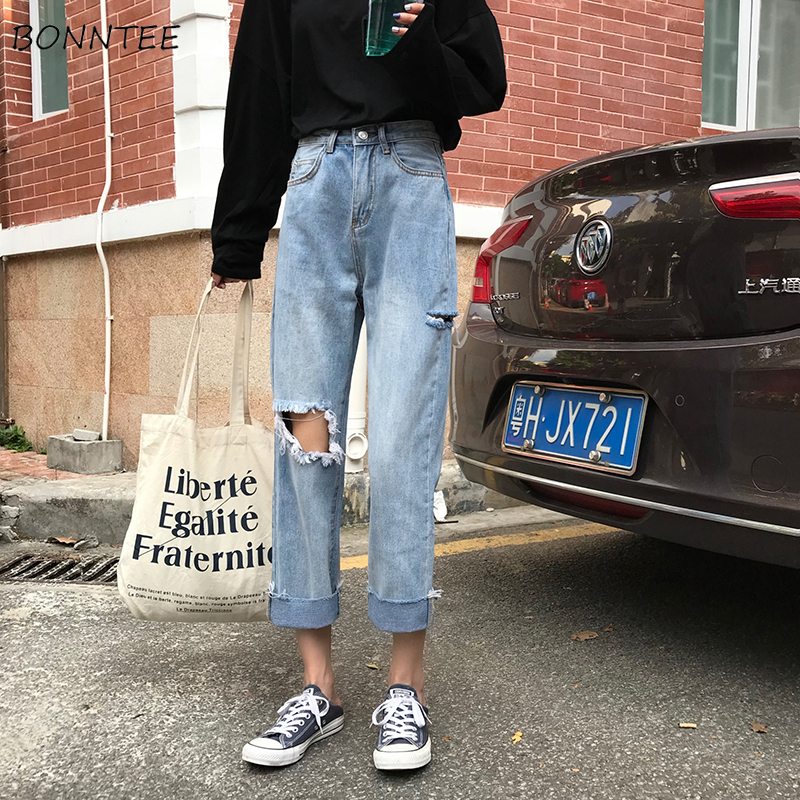 Jeans Women Spring Summer Trendy Streetwear High Waist Loose Hole Korean Style Simple All-match Ulzzang Womens Trousers Casual