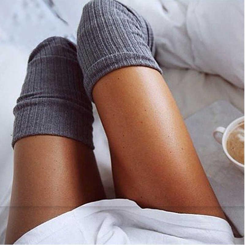 เซ็กซี่ยาวผ้าฝ้ายถุงน่องเข่าถุงน่องผู้หญิงฤดูหนาวเข่าต้นขาสูงถักถุงน่องสำหรับสุภาพสตรีเข่าถุงเท้า