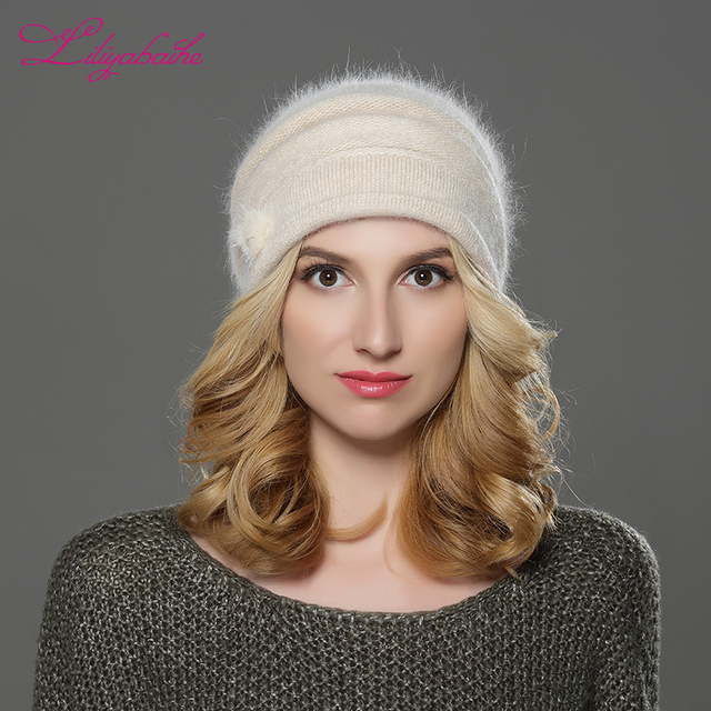 617f1a57a0a LILIYABAIHE NEW Style Women winter Beanies hat knitted wool angora hats  Mink balls and pearl decoration cap Double warm hat