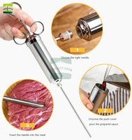 Food Flavor Seasoning Meat Syringe BBQ Meat Flavor Marinade Injector For Pork Chicken Turkey Kithen Cooking Sauce Injector Kit