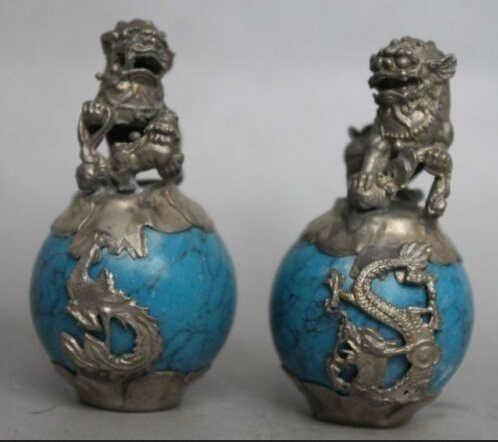 Artesanato de Metal de Antiguidades Asiáticas Chinês mão-cinzelado dragão armadura incrustada de Safira Azul unicórnio Estátua shiping rápido