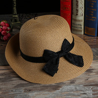 The New Korean Fashion Lady Hat Straw Hat Bow Visor Beach Hat Large Brimmed Hat Breathable