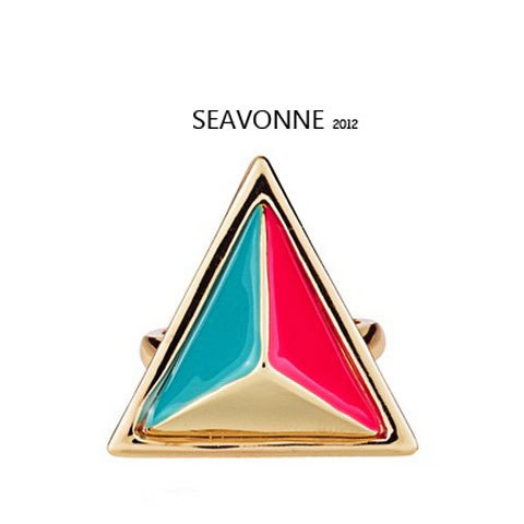 Freeshopping NEW Fashion punk style stereo triangle fluorescent colors exaggerated ring dropshipping  R9381