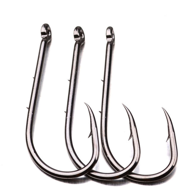 100pcs Barbed Fishhook High-carbon Steel Baitholder Jig Big Sea Fishing Hooks