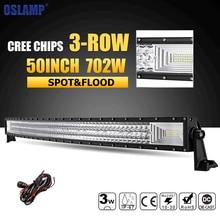 Oslamp 3-rzędowym 50 inch 702 W Zakrzywione LED Light Bar Combo Beam Offroad Led Bar Truck Pickup 4WD 4×4 Led Light Bar 12 v 24 v Lampa Robocza