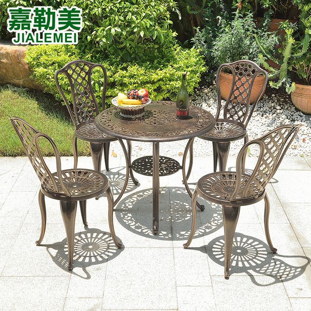 999a82769909 Outdoor furniture balcony garden park casual cafe coffee table combination  Five-piece cast aluminum tables and chairs
