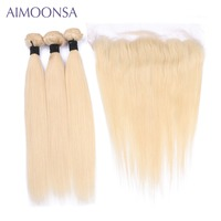 Aimoonsa 613 Blonde Straight Brazilian Hair Weave Human Hair Bundles with Closure 3PC Remy Hair and 1PC Lace Frontal Closure