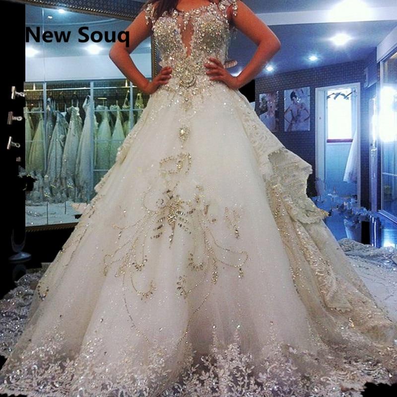 Gorgeous Crystal Beading Wedding Dresses Sweep Train Long Bridal Dress Applique Lace Wedding Dress vestido de noiva