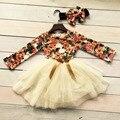 Новый новорожденных девочек одежда 2-7 лет девочки хлопок цветочные партия лук платье девушки платье шелк молока с соответствующими оголовье