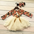 new baby girls clothing 2-7 years old girls cotton floral party bow dress girls party dress milk silk with matching headband