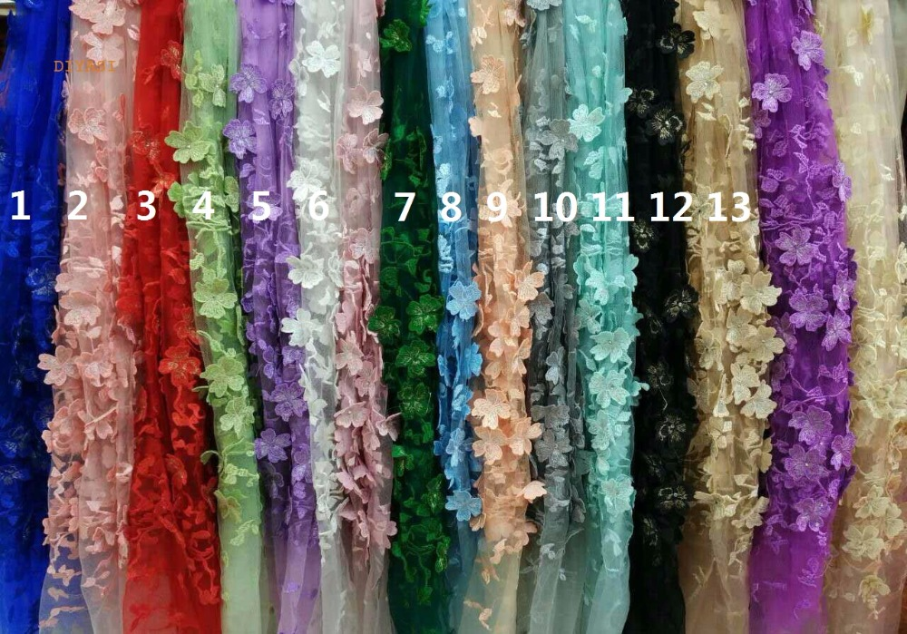 2018 African french lace mix cord lace borders tulle fabric with 3D Appliques stones 5 yard in Fabric from Home Garden