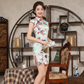 Summer  Cheongsam Chinese Traditional Dress Vestido Flower Printing Female High Neck Qipao Unique Party Evening Dresses