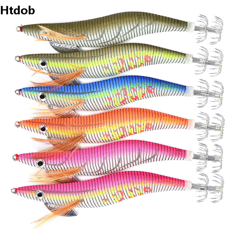 Htdob Fishing Lure Size 2# 2.5# 3# 3.5# 4.0# Lead Sinker Squid Hook Jigs Octopus Cuttlefish Shrimp Baits 3D Eyes Luminous Lures