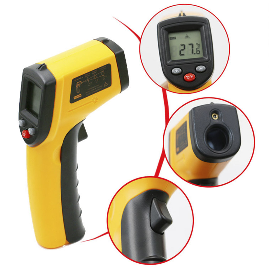 Handheld Digital Thermomete Non Contact Infrared Pyrometer IR Laser Temperature Meter Business & Industrial  Point Gun -50~380C