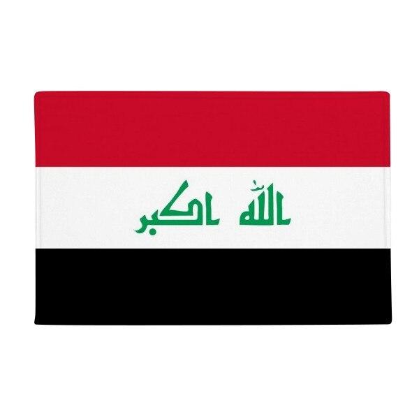 Iraq National Flag Asia Country Anti-slip Floor Mat Carpet Bathroom Living Room Kitchen Door 16x30Gift