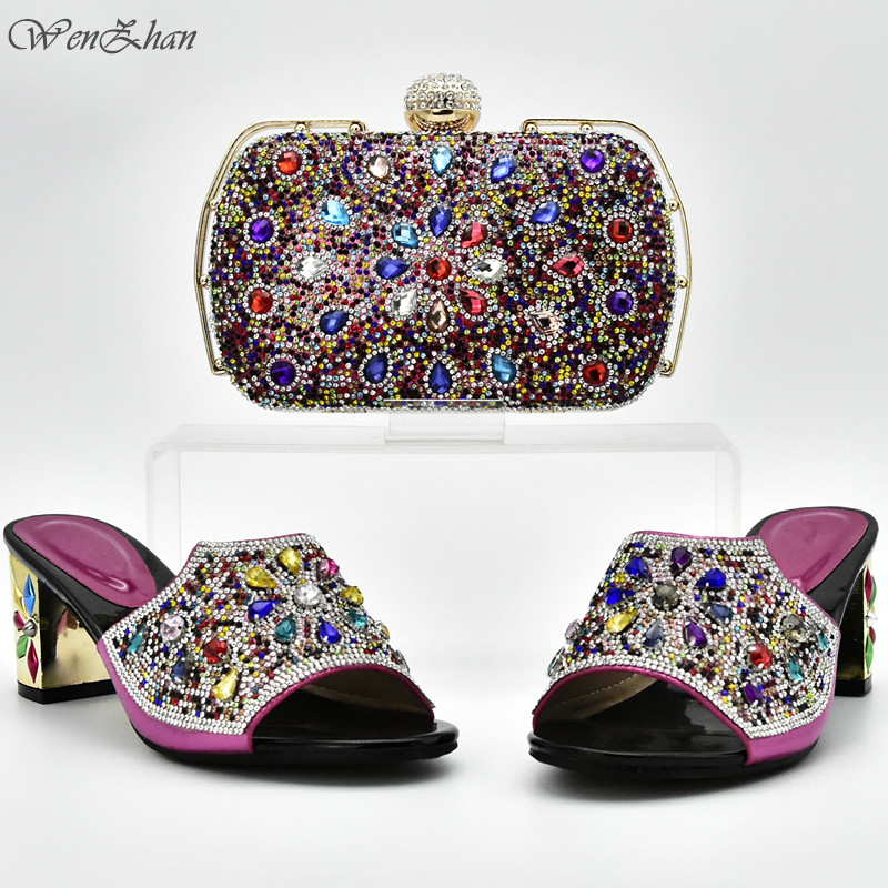 Fuchsia Matching Shoes and Bag Italian In Women Sales,Matching Shoes and Bag Set Decorated with Colorful Rhinestone D711-24 cd158 1 free shipping hot sale fashion design shoes and matching bag with glitter item in black