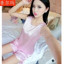 sexy pajamas Summer Women Pajamas Sexy Pants Sleepwear style nightgown satin nighties shirts silk sleep night gown free shipping